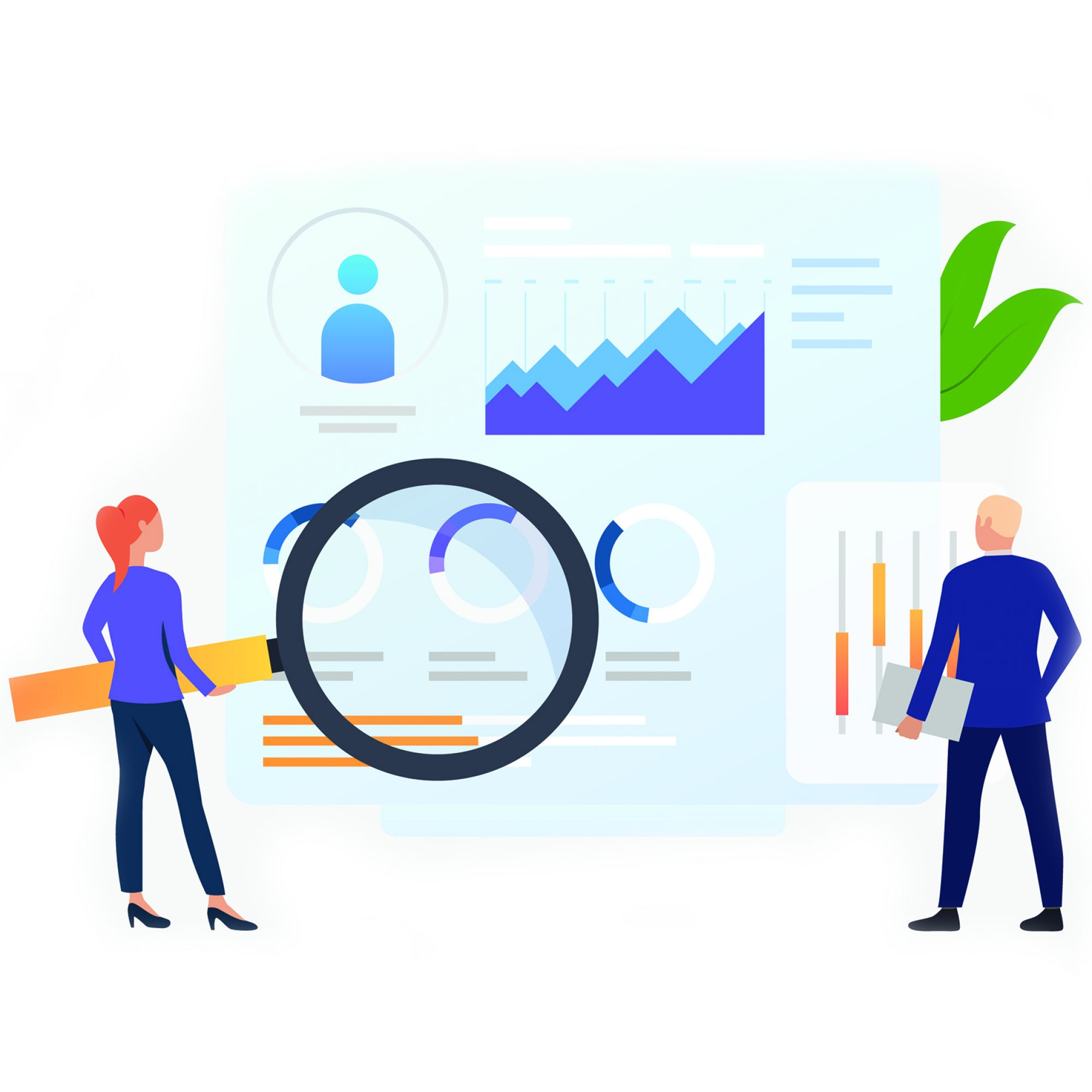 Businesspeople with magnifying glass at charts vector illustration. Business research, analysis, audit. Marketing concept. Creative design for layouts, web pages, banners